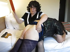 French Maid Gives Transvestite A Enduring OTK Spanking