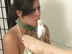 Hot goddess playing with her cute little puppy