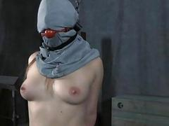 Beauty is tied upside down with her pussy thrashed