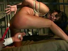 Hot brunette getting tied beside and fucked rough