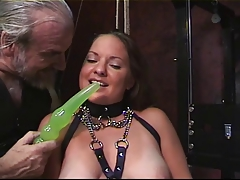 Princess rams green dildo in tight pussy