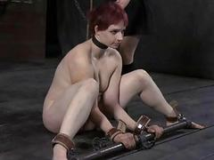 Gagged cutie with clamped nipples gets delight
