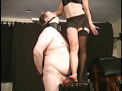 Bit of all right tramples slave's dick