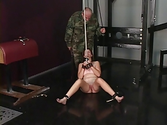 Cute young shaved pussy brunette slave girl is caned and spanked by versed