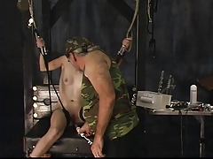 Skinny shackled a-cup light-complexioned gets multiple clips attached to her pussy