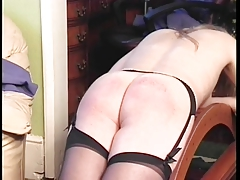 Blond floosie in lingerie whipped