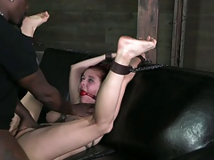 Shackled,gagged, used,   to cum
