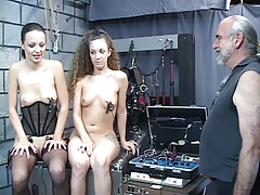 BDSM polished makes topless teen girls submit to vibrations nipple play
