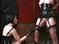Swishy babe thither leather spanks and gags slut