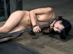Gruelling cutie in shackles gets her cookie pumped