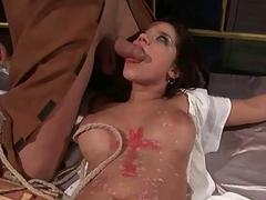 Hot girl getting tied up and fucked