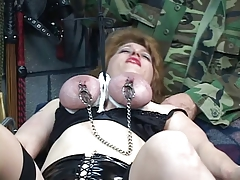 Thick, mature babe gets her tits bound in rope, tortured