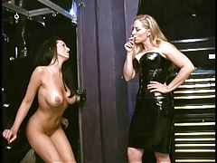 Smoking slave spanked by mistress and escapes to smoke more
