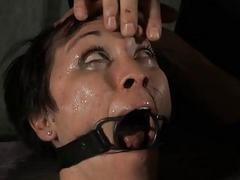 Gagged girl with clamped nipples receives outcast joy