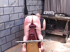 D-cup jiggly-assed brunette slave gets paddled, whipped increased by roped
