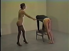 Mistress gets exited non-native nude caning