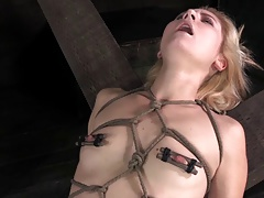 Cute blonde all tied in teased and squirting orgasm