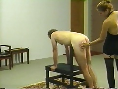 Retro private whipping & caning boxing-match respecting blonde mistress