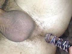 Wife fucks husband with pint dildo