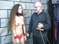 Small-titted collared bdsm brunette gets say no to nipples clamped and pulled hard