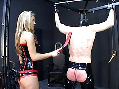 Latex Shake out lets dog slave out of the pen to be whipped