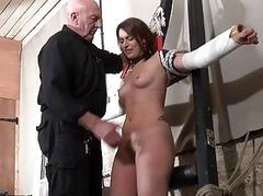 Bastinado coupled with amateur bdsm oubliette of private slav