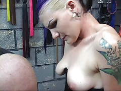 BDSM goth chick with three hair colors gets markings cut into her leg by stud