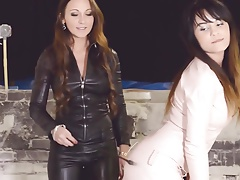 2 hot girls dressed all in leather femdom lesbian threesome