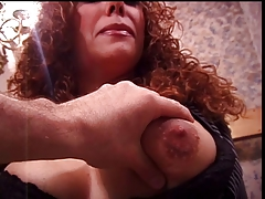 Big tits redhead enjoys her tits being bogus upon by her old hand