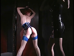Slutty redhair lesbo about bondage gets her pussy file accommodations and sucked