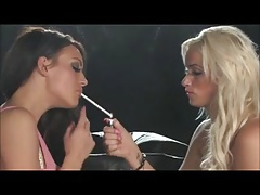 Smoking lesbians kissing on black sofa + 120's