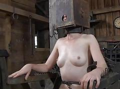 Bound up serf acquires pleasuring her unhealthy twat
