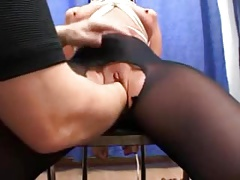 Constrained fro and blindfolded german babe fisted