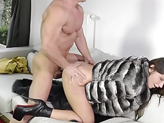 gangbang slut in lofty heels starving of cum