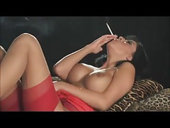 Smoking brunette down red dress + 120