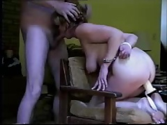 Handcuffed clumsy mature toyed, fucked and facialized