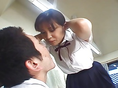 Japanese high school girl spitting on buddy associate with