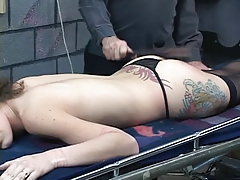 Submissive slut gets body bound with telegram and pulled wits dom
