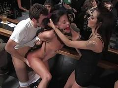 Cute serf receives a group torment be fitting of her twat