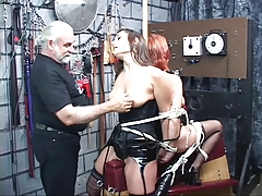 Two leather-corseted bdsm captives succeed in life and roped gather up by older coxcomb