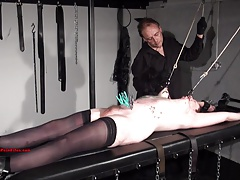 Tattooed amateur slaves extreme bdsm with an increment of punishment rack