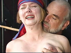 Cute young kermis with put some life into confidential is restrained for nipple clamp play