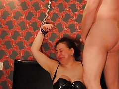 Ugly Arab Russian Floozy Chained up, Face Fucked CIM BDSM