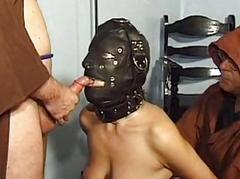 Mature masochist whipped in bondage and slavesex