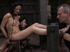 Gagged angel acquires raging pricking upstairs their way tits