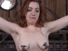 Gagged live-in lover gets furious whipping aloft her tits