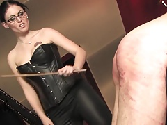 Dominate Dust-ball caning her bound slave