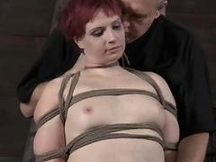 Gagged angel acquires wrathful whipping on will not hear of tits