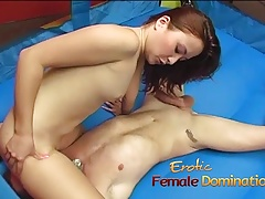 Microscopic Asian mademoiselle has her pussy licked and jerks off a cock