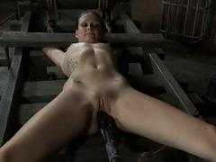 Tied up beauty receives tongue increased by facial agony